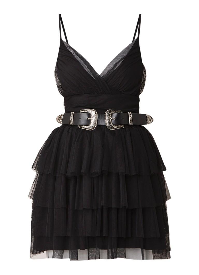 NIKKIE Selia mini-jurk van mesh met ceintuur zwart