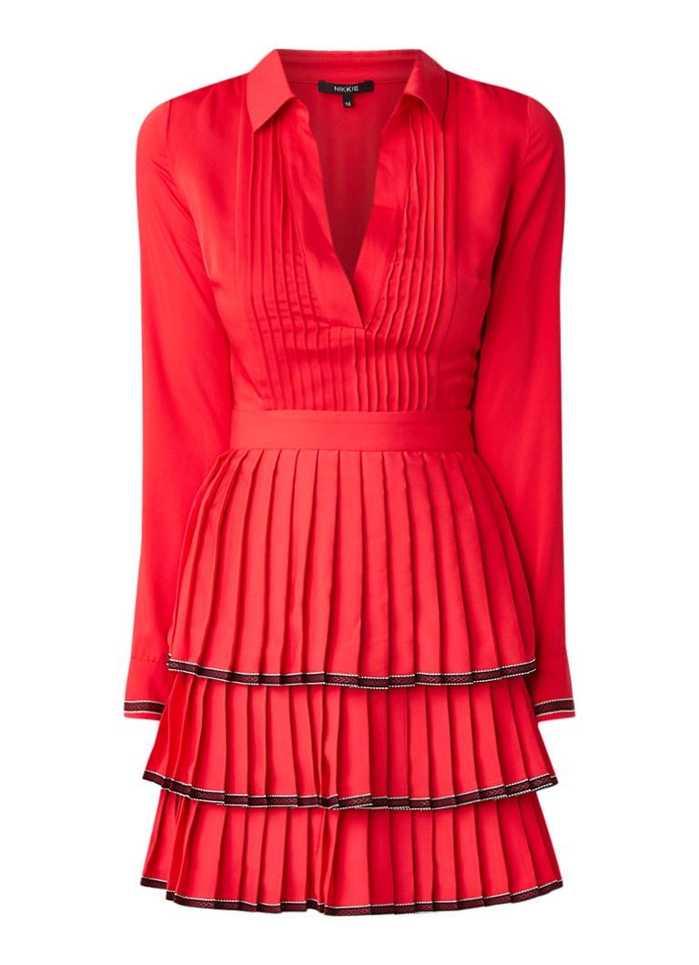 NIKKIE Ruby blousejurk met geplisseerde rok rood