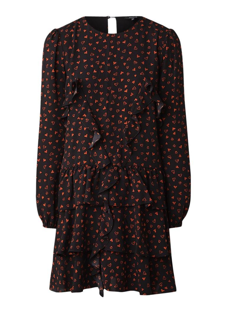 NIKKIE Siena A-lijn jurk met volant en hartendessin zwart