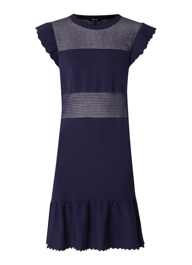 NIKKIE Janai fijngebreide midi-jurk met opengewerkte details donkerblauw