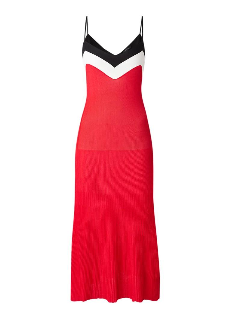 NIKKIE Karin fijngebreide maxi-jurk met spaghettibandjes rood