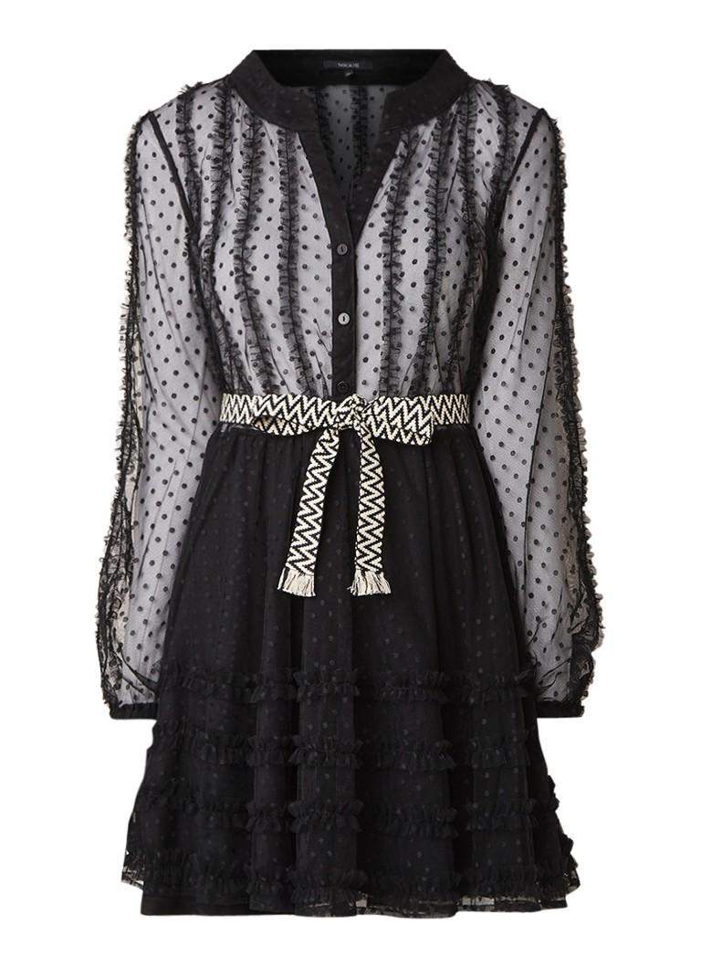 NIKKIE Nola A-lijn jurk van kant met contrasterend ceintuur zwart
