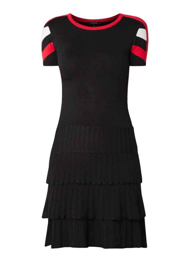 NIKKIE Joey jurk met geplisseerde rok en colour blocking zwart