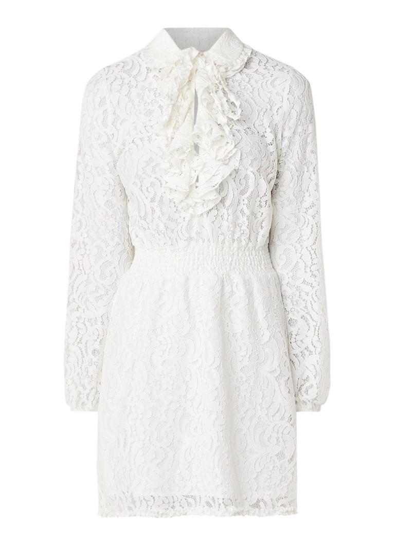NIKKIE Sacha A-lijn jurk van kant met ruches gebroken wit