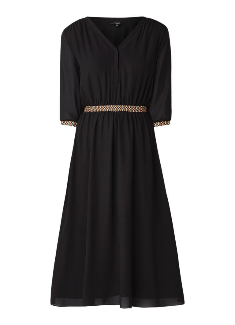 NIKKIE Leana loose fit midi-jurk met geborduurde details zwart