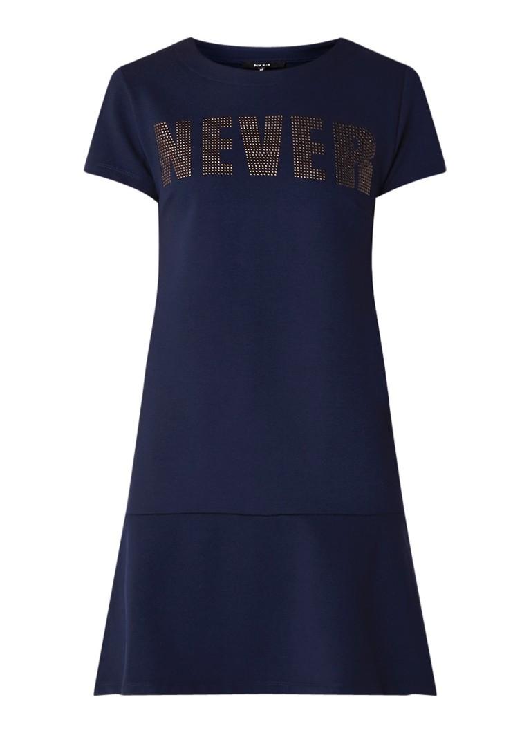 NIKKIE Roma mini-jurk van jersey met studs donkerblauw