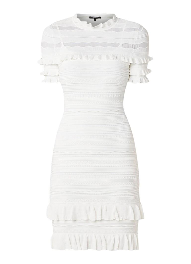 NIKKIE Kayla fijngebreide jurk met ruches en mesh gebroken wit
