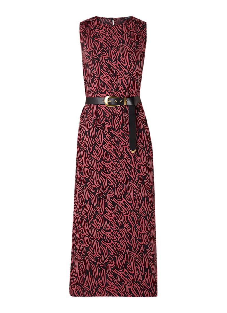 NIKKIE Sandy maxi-jurk met dessin en ceintuur donkerroze