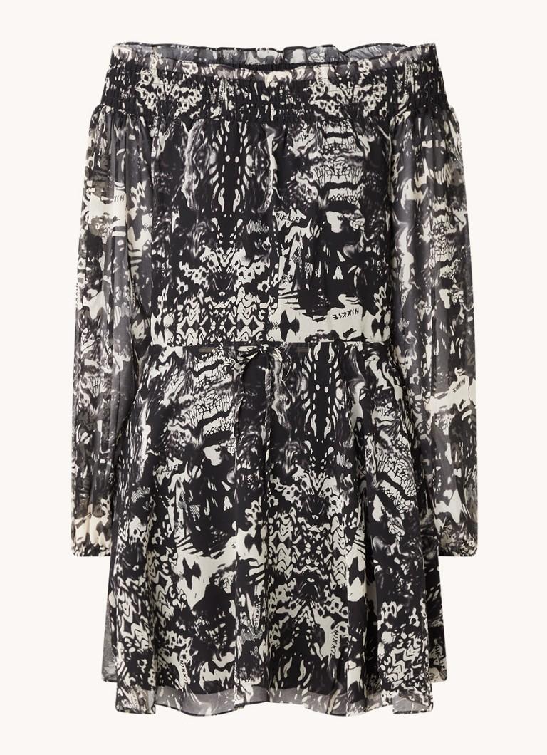 NIKKIE Fay-Lee off shoulder mini jurk met smockwerk en print online kopen