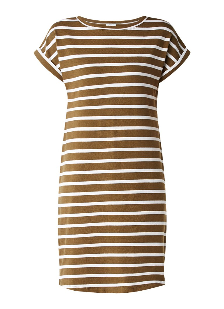 Jigsaw T-shirt jurk van katoen met streepdessin mosgroen