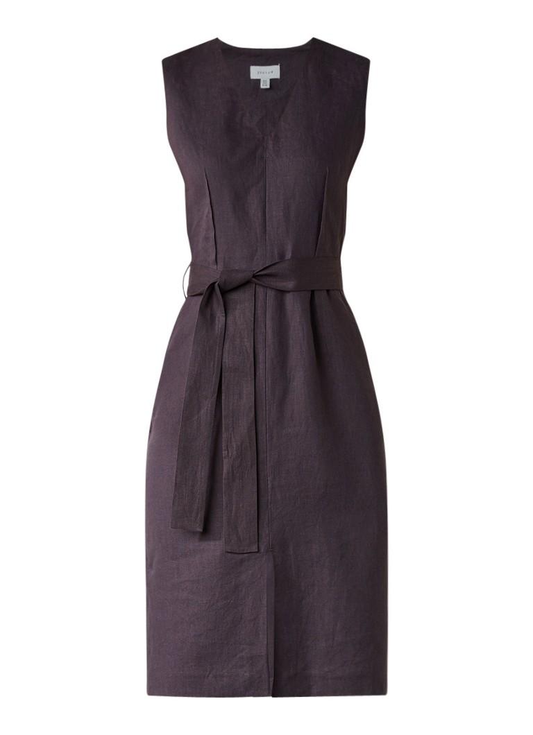Jigsaw Midi-jurk van linnen met ceintuur antraciet