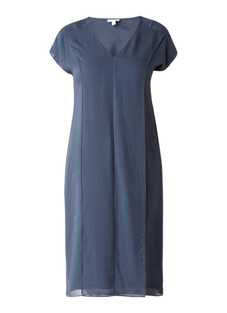 Jigsaw Rechte jurk met overlay en voorpand van zijde staalblauw