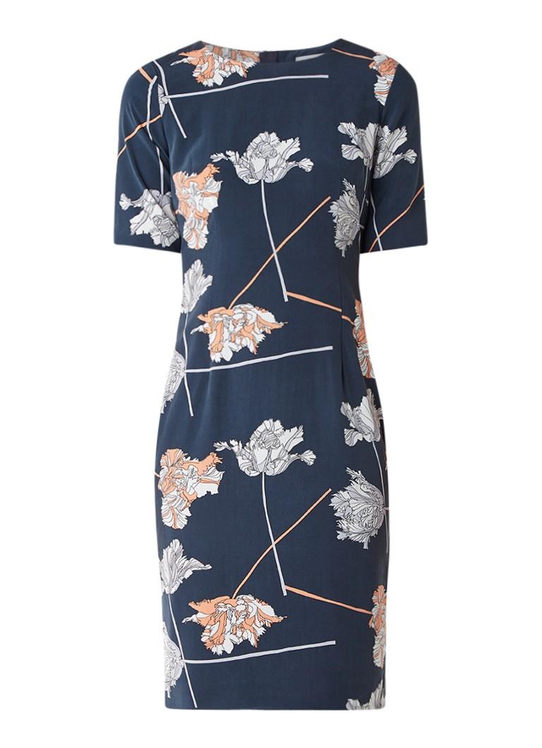 Jigsaw Dancing jurk in zijdeblend met bloemendessin petrol
