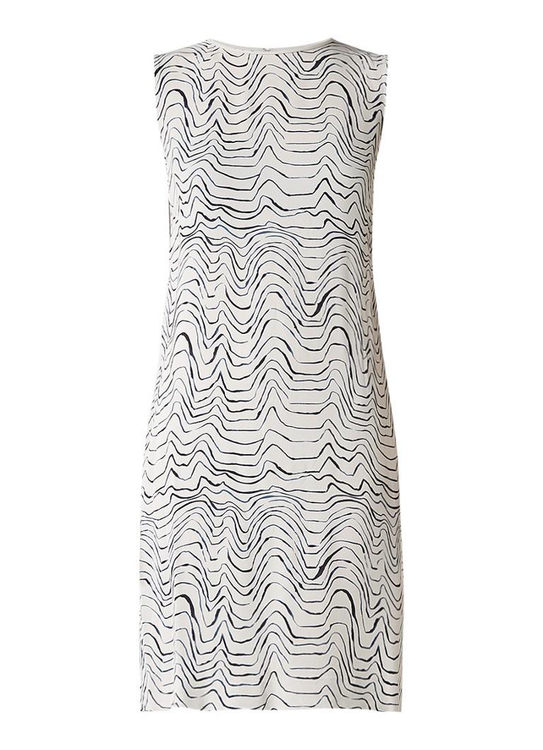 Jigsaw Patella Wave jurk met golvend dessin lichtgrijs