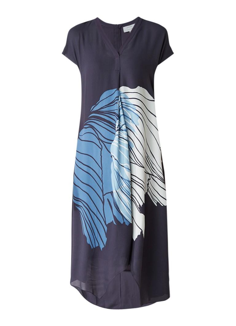 Jigsaw Floating Poppy midi-jurk met frontprint blauwgrijs