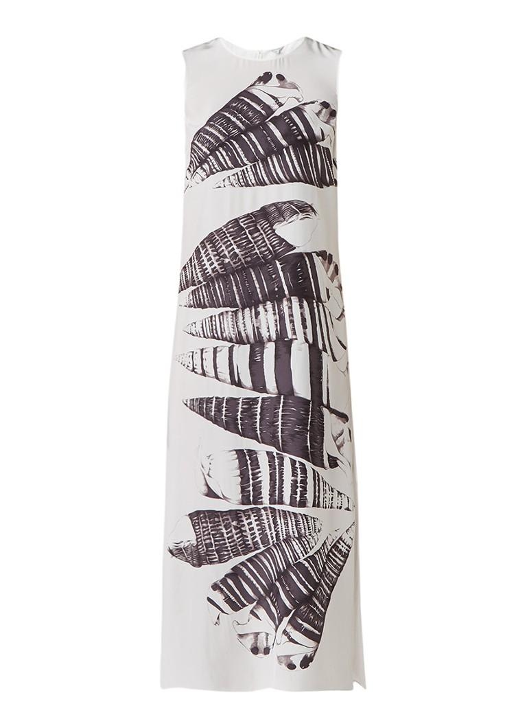 Jigsaw Maxi-jurk van zijde met print en zijsplit gebroken wit