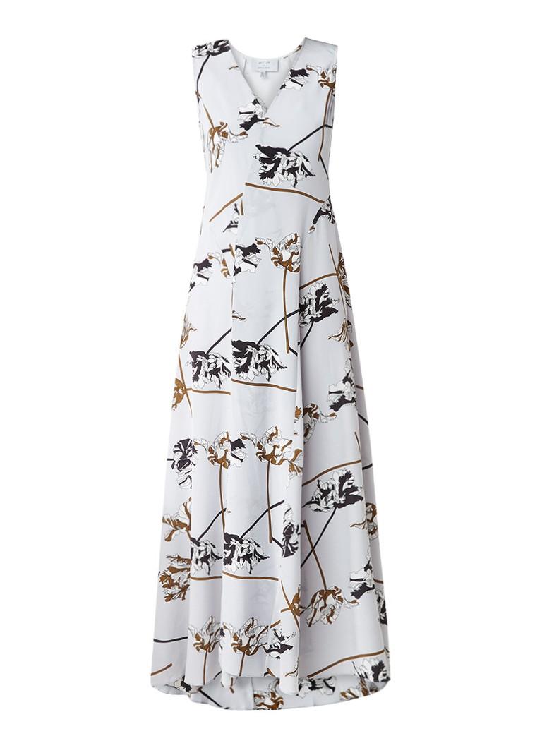Jigsaw Maxi-jurk van zijde met split en dessin lichtgrijs