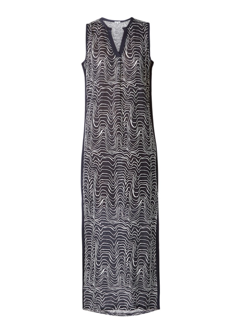 Jigsaw Patella maxi-jurk met dessin en zijsplit donkerblauw