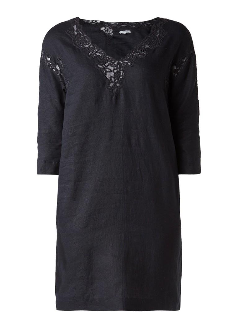 Jigsaw Tuniekjurk van linnen met kanten inzet zwart