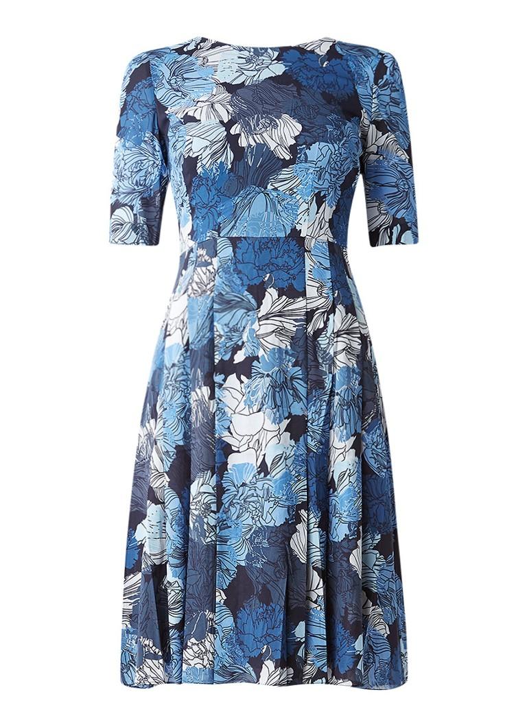 Jigsaw Camo Floral gebloemde A-lijn jurk van zijde donkerblauw