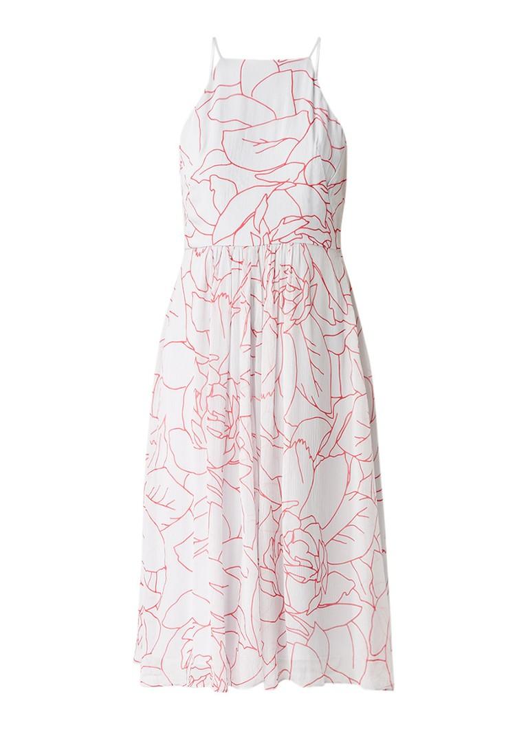 Jigsaw Mouwloze midi-jurk met bloemendessin lichtgrijs