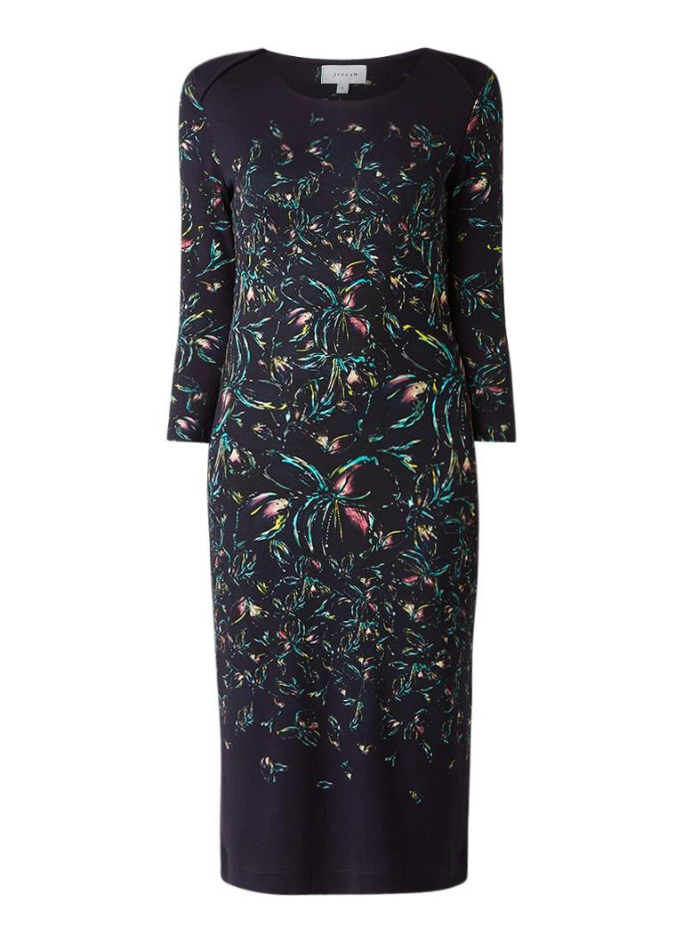 Jigsaw Bleached jersey jurk met dessin donkerblauw