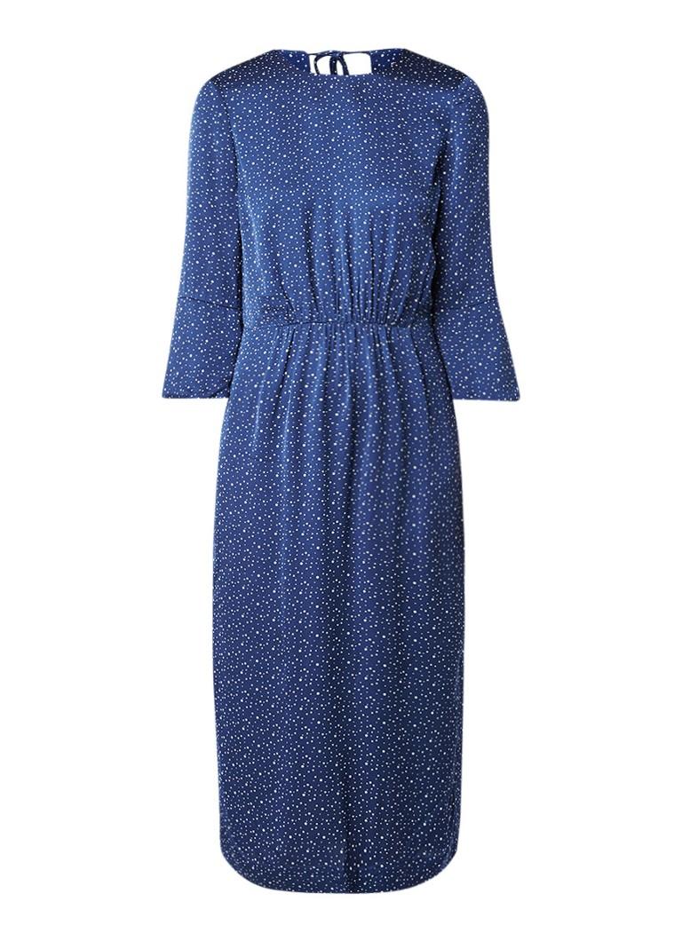 Jigsaw Dotty midi-jurk met stippendessin donkerblauw