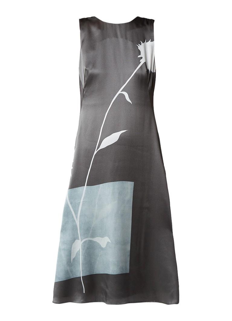 Jigsaw Thistle Salena jurk van zijde met blinde ritssluiting antraciet