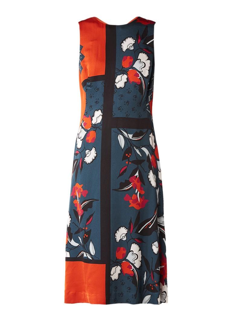 Jigsaw Midi-jurk met zijdelook met bloemenprint donkeroranje