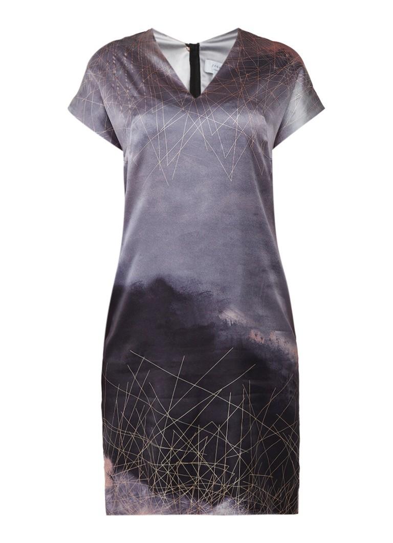 Jigsaw Tuniekjurk van zijde met abstract dessin grijs