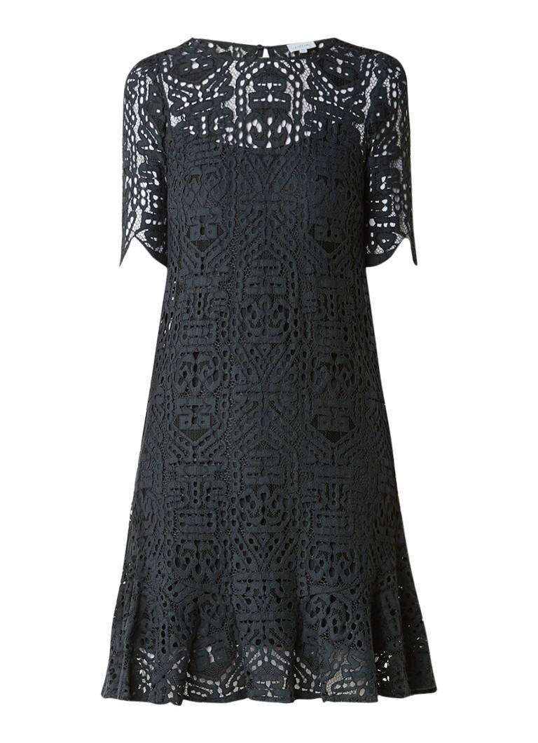 Jigsaw A-lijn jurk van grafisch kant olijfgroen