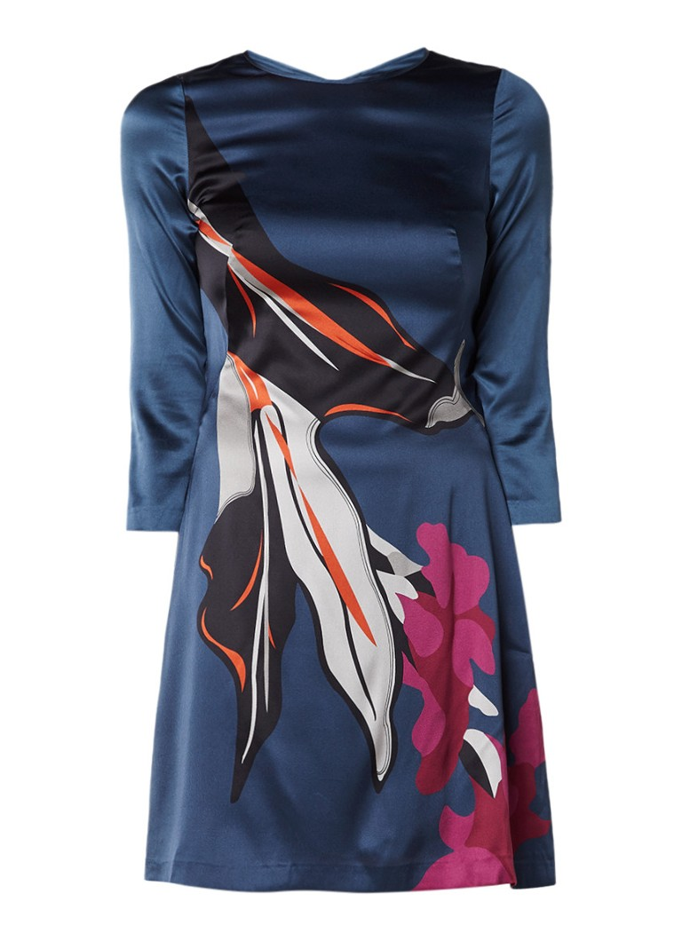 Jigsaw Nothern Bloom jurk in zijdeblend met print petrol