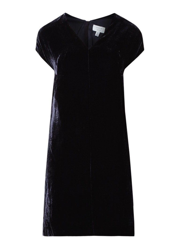 Jigsaw Constance midi-jurk van fluweel donkerblauw