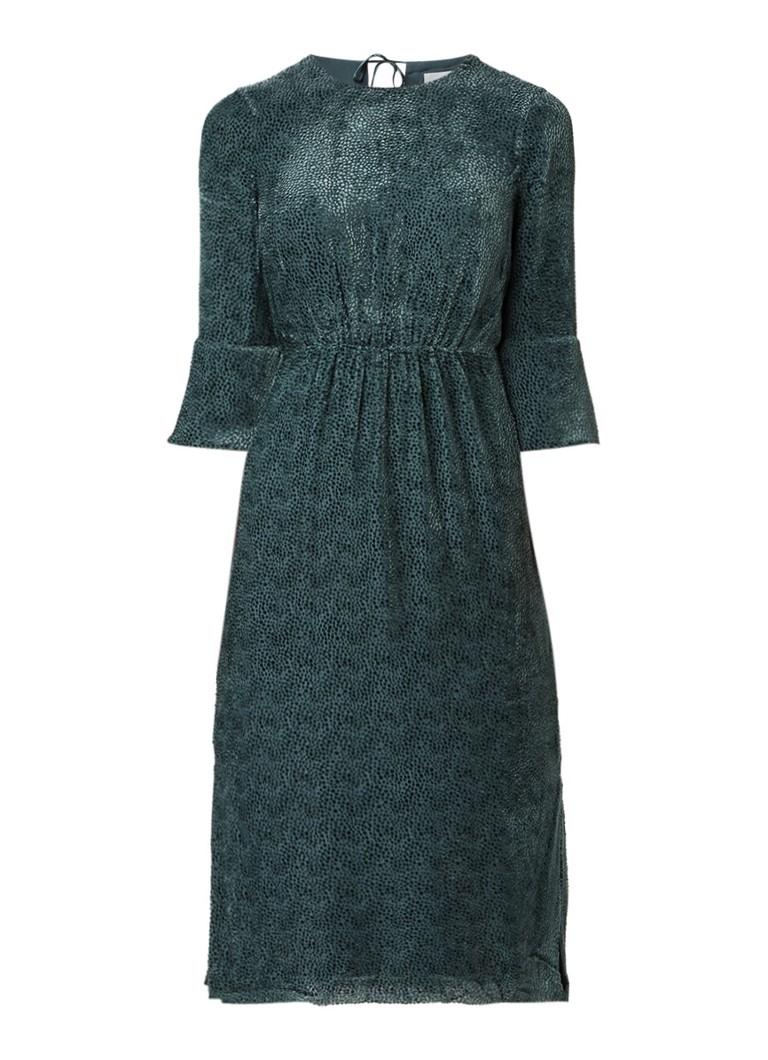 Jigsaw Midi-jurk met fluwelen details en splits groen