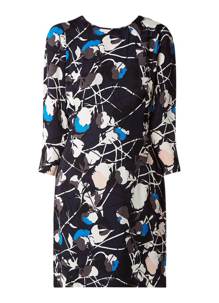 Jigsaw Iris jurk van crêpe met abstract bloemendessin donkerblauw