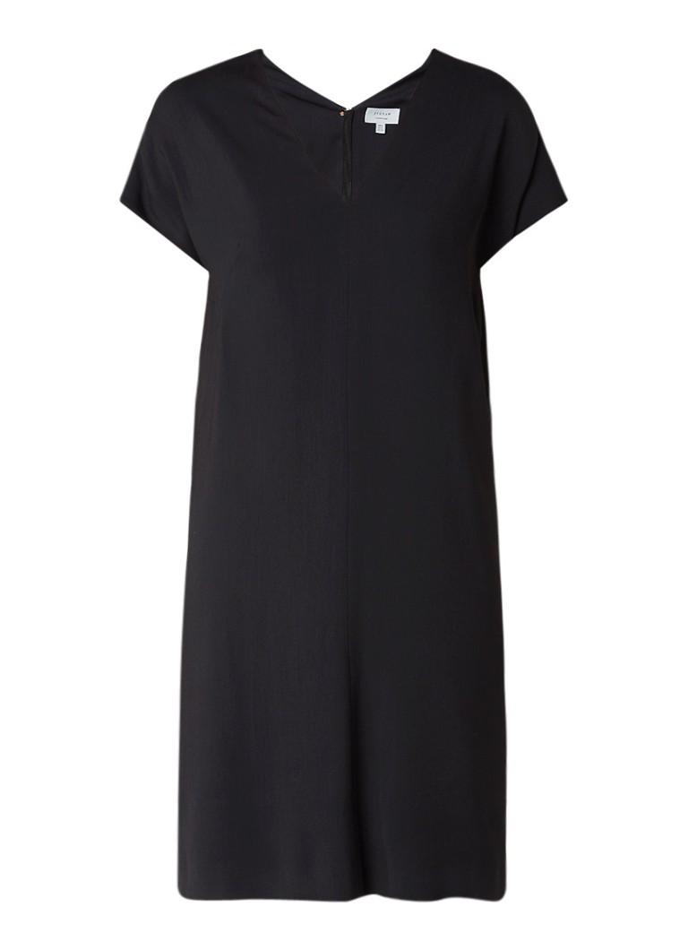Jigsaw Constance midi-jurk met siernaad zwart