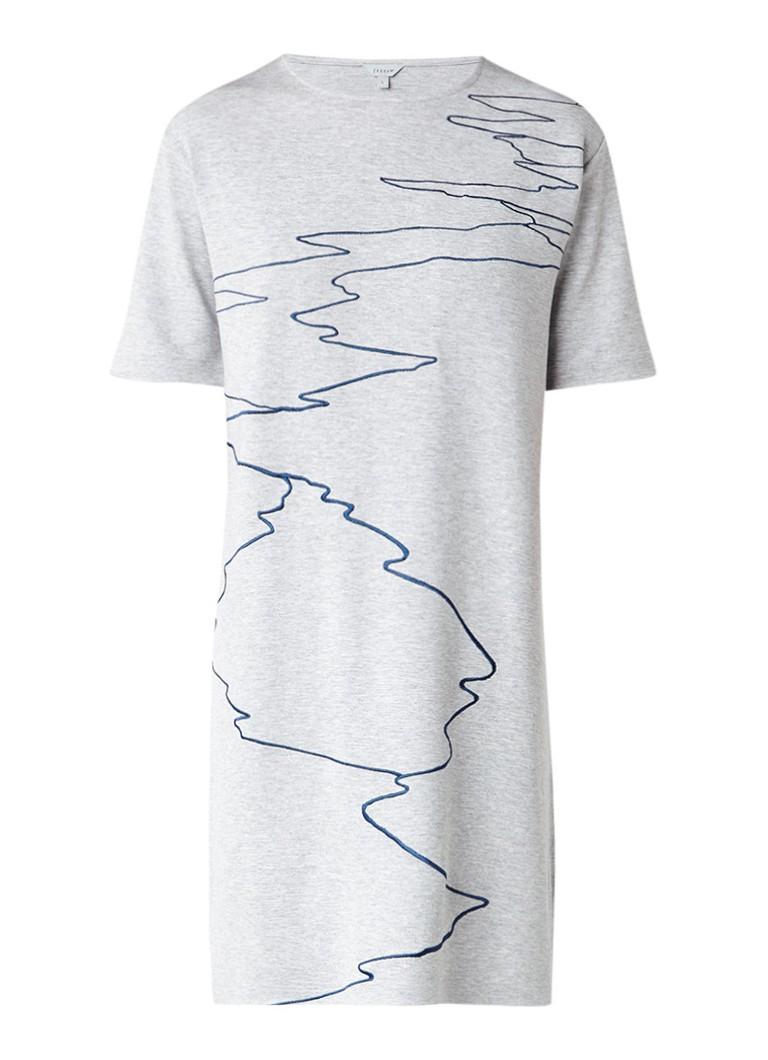 Jigsaw Ocean Tide midi-jurk van jersey met borduring grijsmele