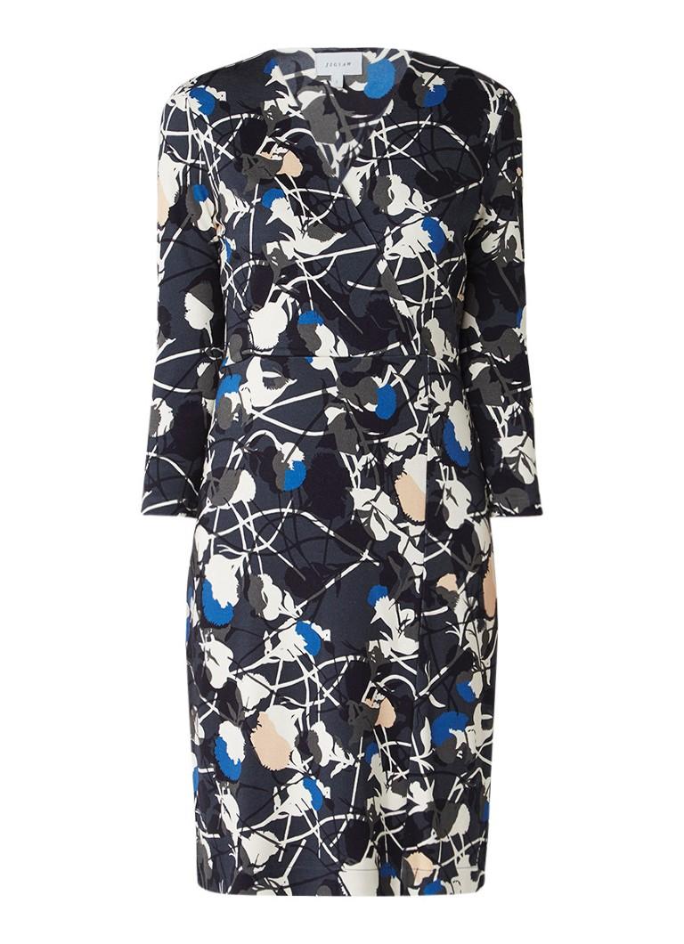 Jigsaw Jersey midi-jurk met overslag en dessin donkergroen