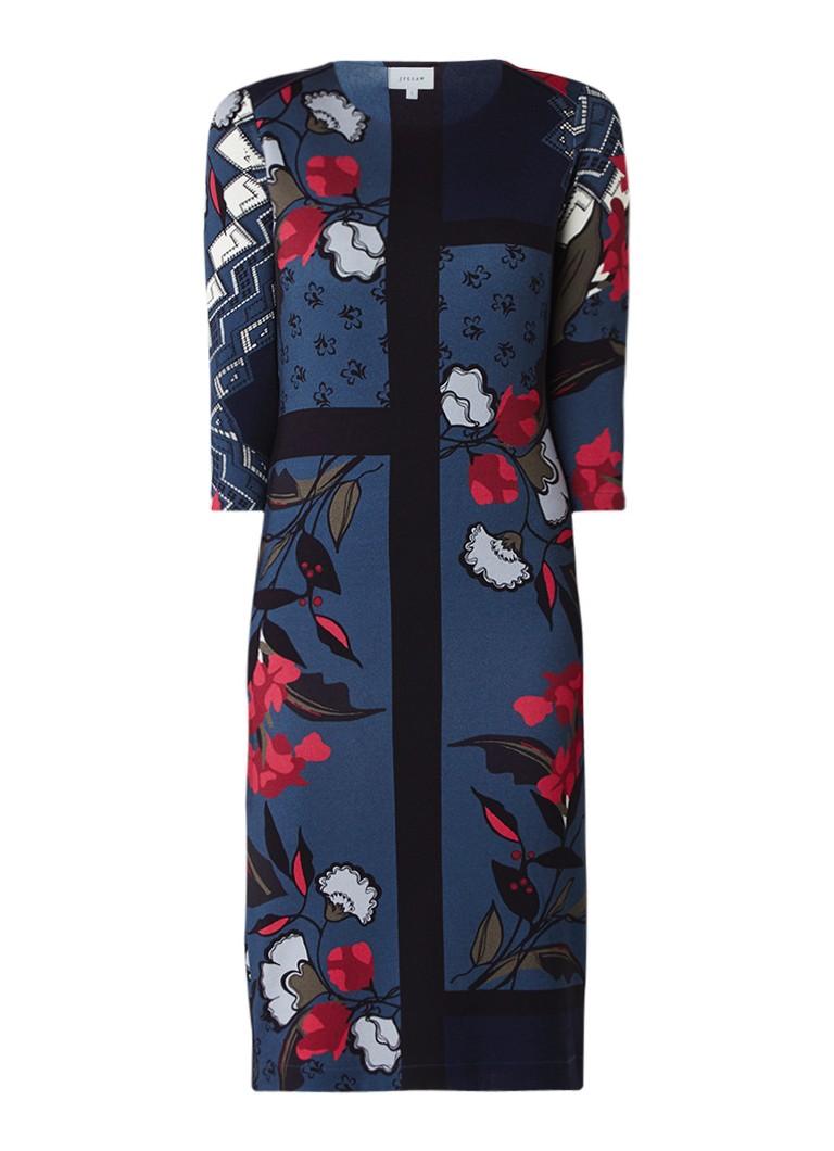 Jigsaw Midi-jurk met gebloemd dessin en driekwartsmouw petrol