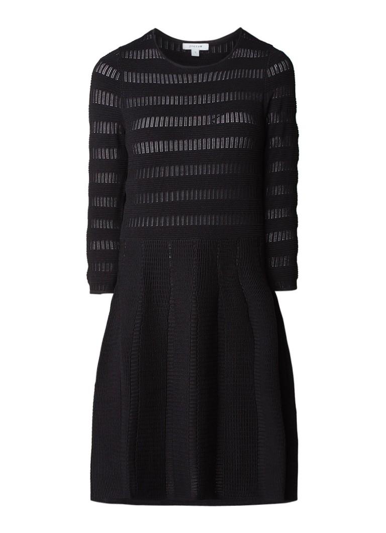 Jigsaw A-lijn jurk met ingebreide structuur zwart