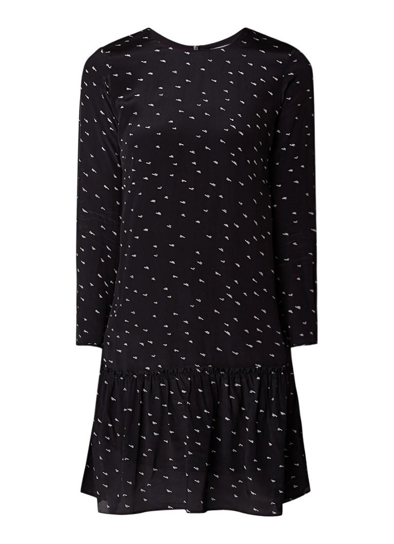 Jigsaw Mini-jurk met grafisch dessin en volant zwart