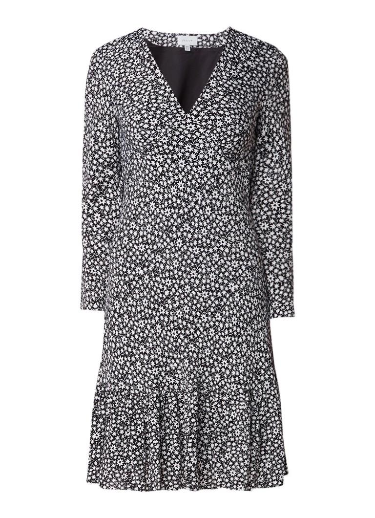 Jigsaw Midi-jurk met bloemendessin en volant zwart