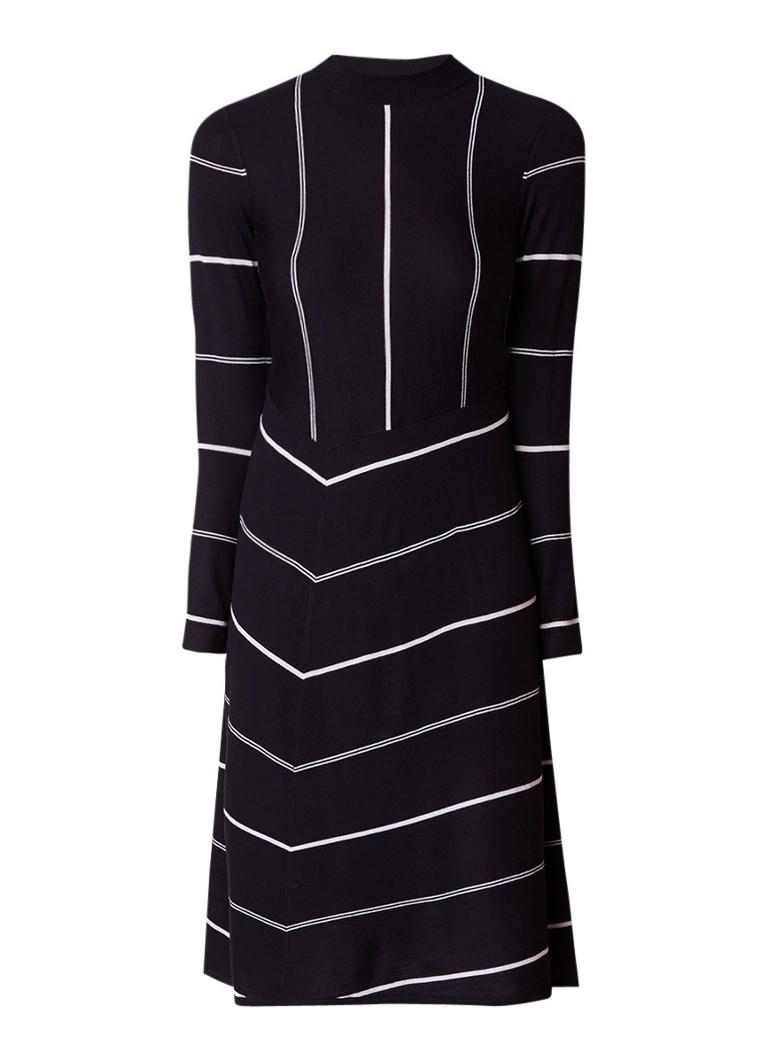Jigsaw A-lijn jurk van wol met streepdessin zwart