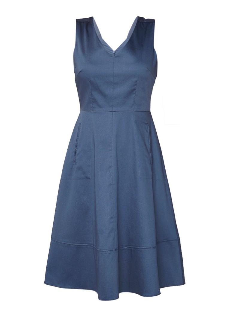 Jigsaw A-lijn jurk met paspelzak staalblauw