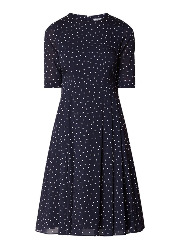 Jigsaw A-lijn jurk van zijde met stippendessin donkerblauw