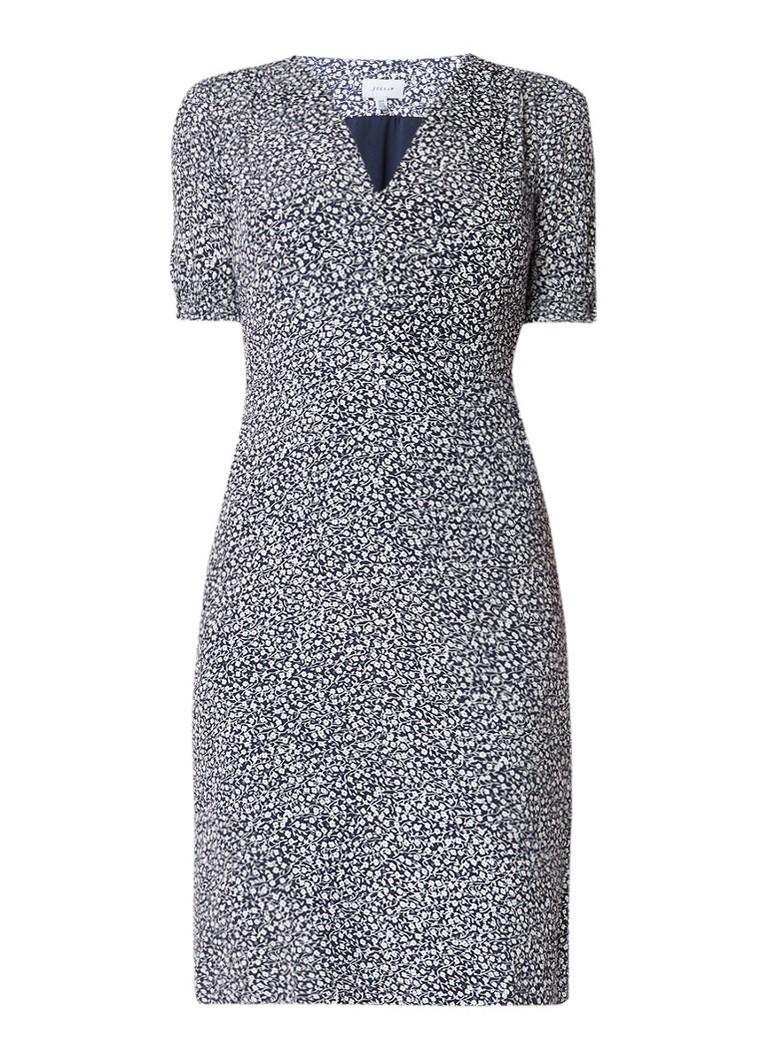 Jigsaw Midi-jurk met bloemendessin en halflange mouw donkerblauw