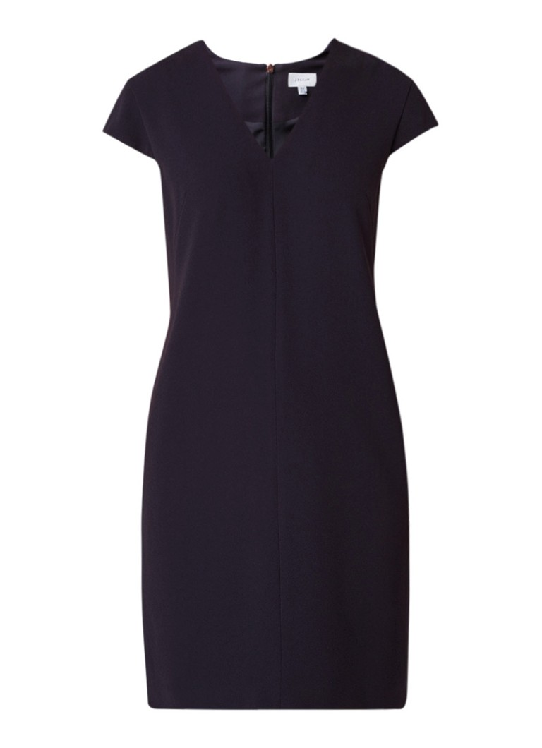 Jigsaw Loose fit midi-jurk met kapmouw donkerblauw