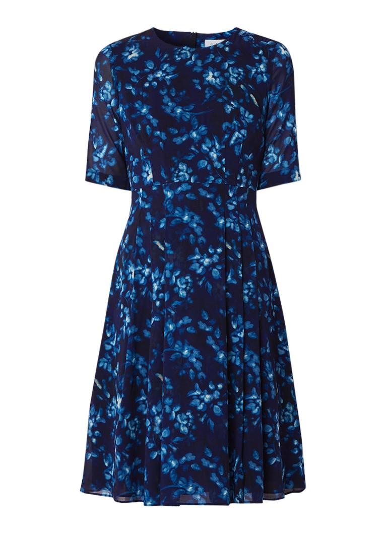 Jigsaw Midnight Garden A-lijn jurk van zijde met bloemendessin donkerblauw