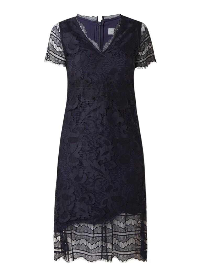 Jigsaw Midi-jurk met overlay van kant donkerblauw