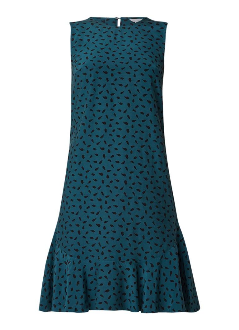 Jigsaw Mouwloze jurk met dessin en volantzoom zeegroen